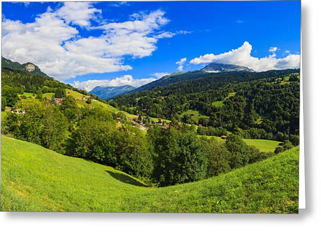 Graubunden Greeting Cards - Swiss Valley Greeting Card by Raul Rodriguez