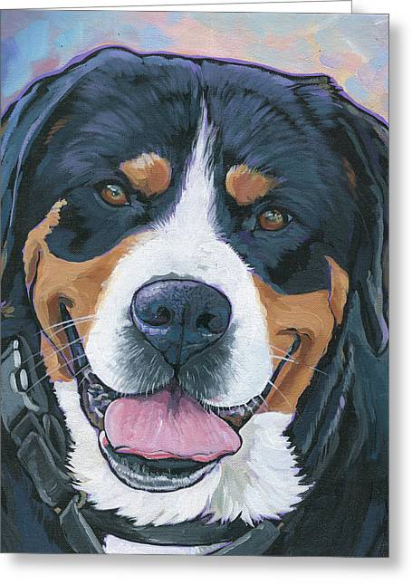Swiss Paintings Greeting Cards - Swissie Greeting Card by Nadi Spencer