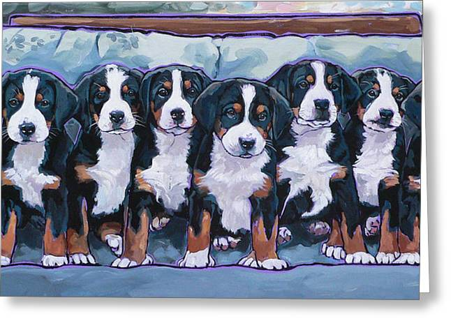 Nadi Spencer Greeting Cards - Swissie Pups Greeting Card by Nadi Spencer