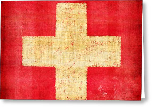 Old Postcards Greeting Cards - Switzerland flag Greeting Card by Setsiri Silapasuwanchai