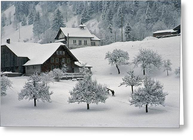 Two Persons Greeting Cards - Switzerland, Winter Snow Scene In Alps Greeting Card by Keenpress