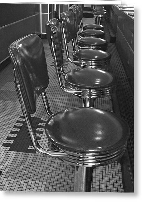 Sit-ins Greeting Cards - Swivel Stools 1 Greeting Card by Denise Mazzocco