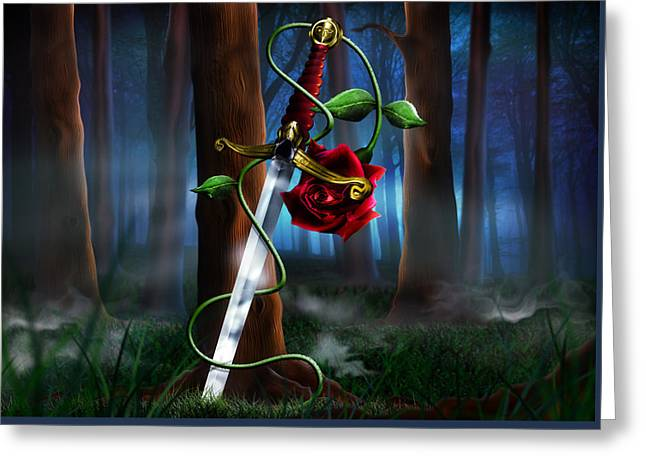 Rose Petals Greeting Cards - Sword and Rose Greeting Card by Alessandro Della Pietra