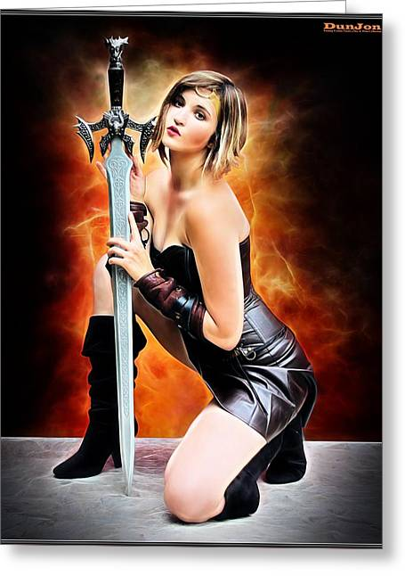 Dungeons Greeting Cards - Sword Of The Warrior Princess Greeting Card by Jon Volden