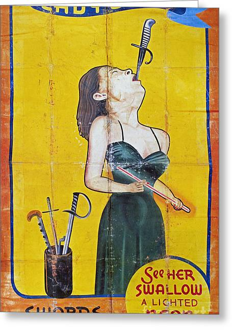 Swallower Greeting Cards - SWORD SWALLOWER, c1955 Greeting Card by Granger