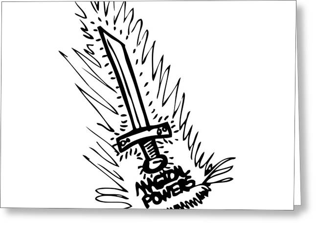 Wizard Drawings Greeting Cards - Sword With Magical Powers Greeting Card by Karl Addison
