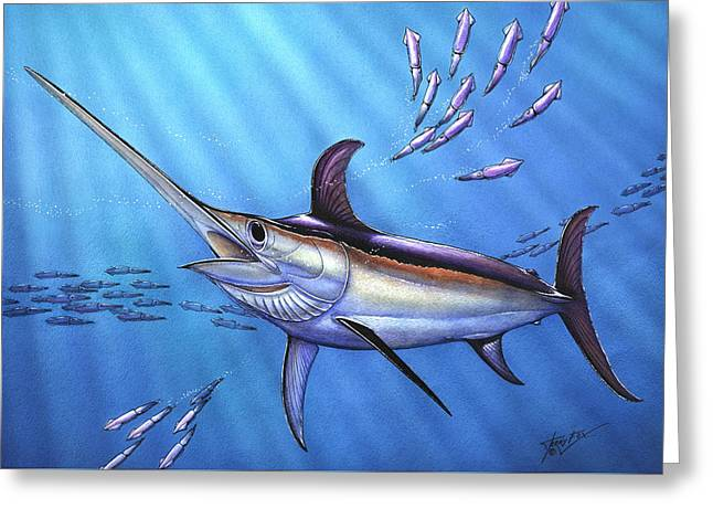 Slam Greeting Cards - Swordfish in Freedom Greeting Card by Terry  Fox