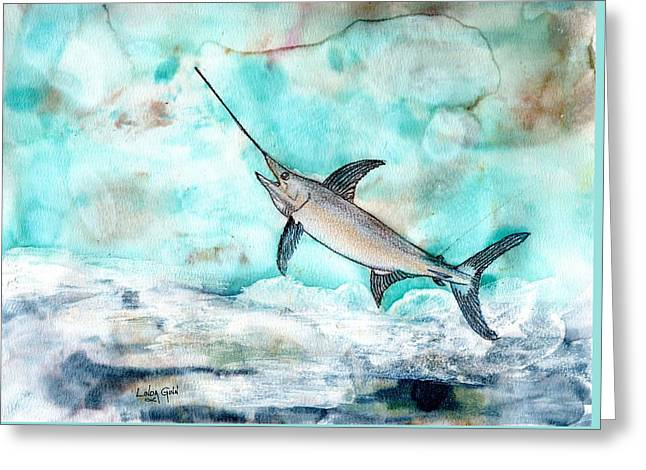 Swordfish Mixed Media Greeting Cards - Swordfish Greeting Card by Linda Ginn