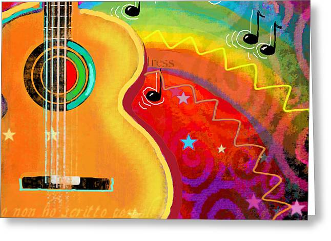 Buy Posters Online Greeting Cards - SXSW Musical Guitar fantasy painting print Greeting Card by Svetlana Novikova