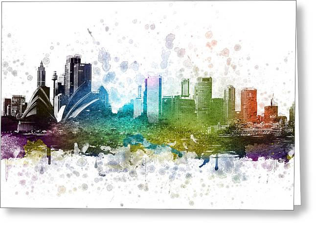 Skylines Drawings Greeting Cards - Sydney Australia in Color 02 Greeting Card by Aged Pixel