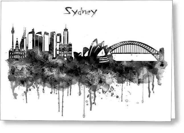 Sydney Black And White Watercolor Skyline Greeting Card by Marian Voicu