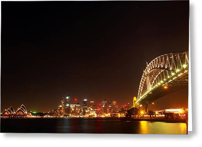 Sydney By Night Greeting Card by Justin Woodhouse