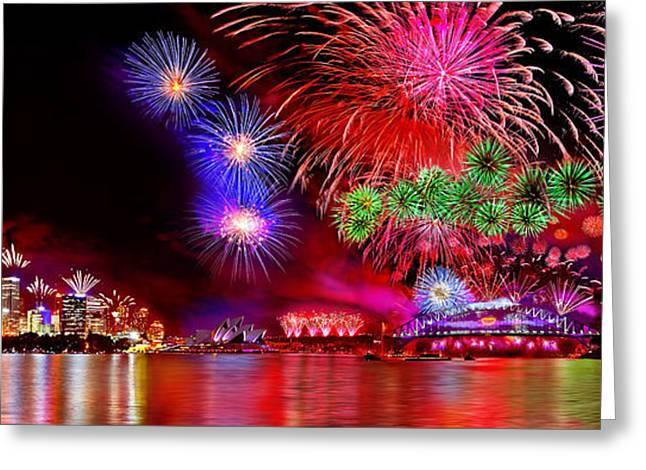 Fireworks Greeting Cards - Sydney Celebrates Greeting Card by Az Jackson