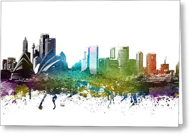 Rainbows Drawings Greeting Cards - Sydney cityscape 01 Greeting Card by Aged Pixel