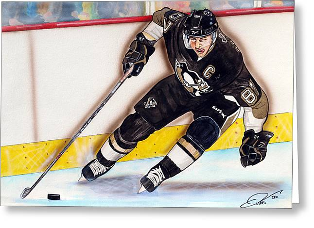 Nhl Hockey Drawings Greeting Cards - Sydney Crosby Greeting Card by Dave Olsen