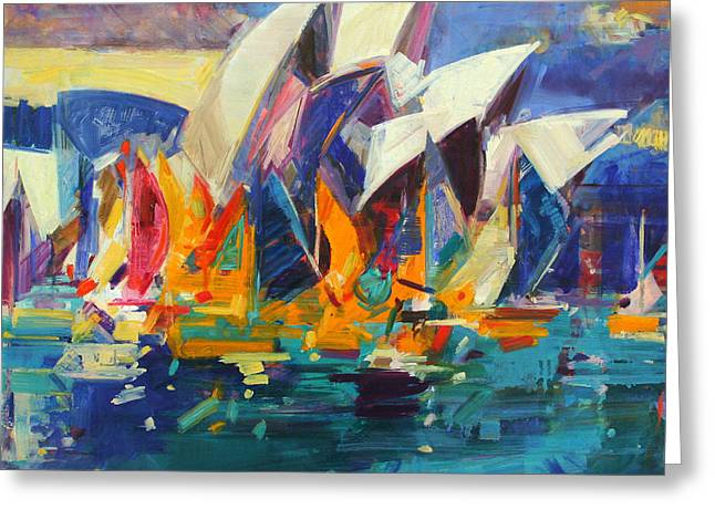 Calm Waters Paintings Greeting Cards - Sydney Flying Colours Greeting Card by Peter Graham