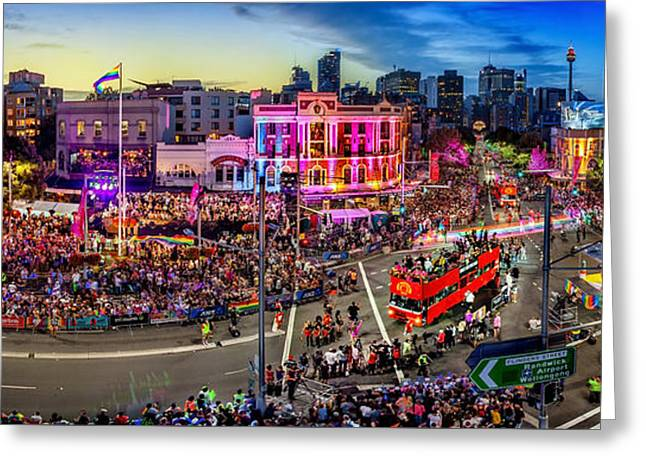 People Greeting Cards - Sydney Gay and Lesbian Mardi Gras Parade Greeting Card by Az Jackson