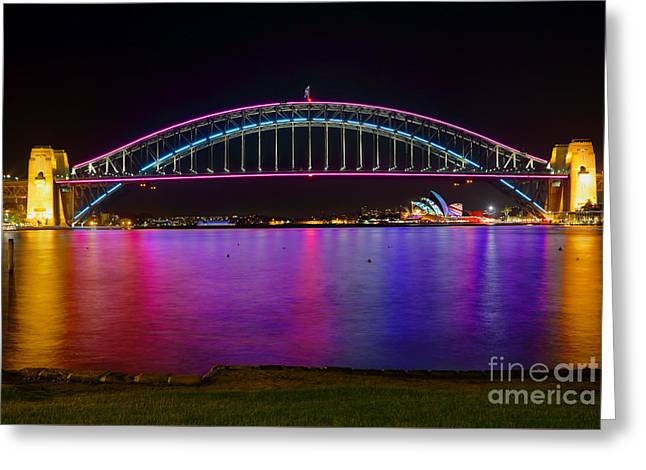 City Lights Greeting Cards - Sydney Harbour Bridge and Opera House in lights Greeting Card by Leah-Anne Thompson