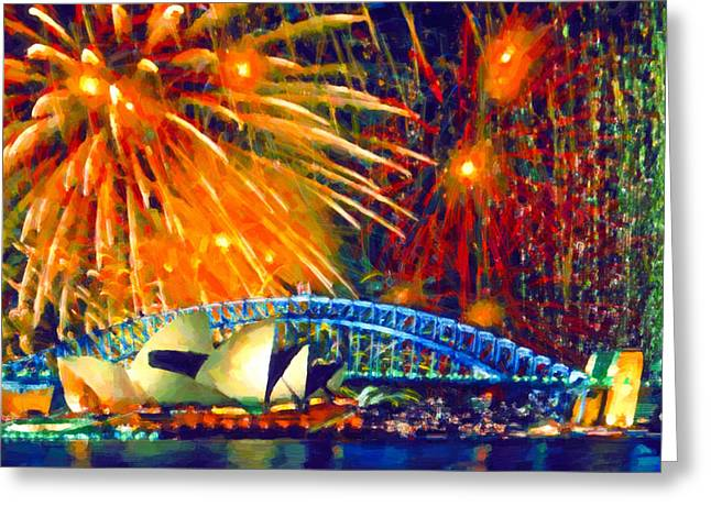 Pyrotechnics Paintings Greeting Cards - Sydney new year fireworks Greeting Card by Lanjee Chee