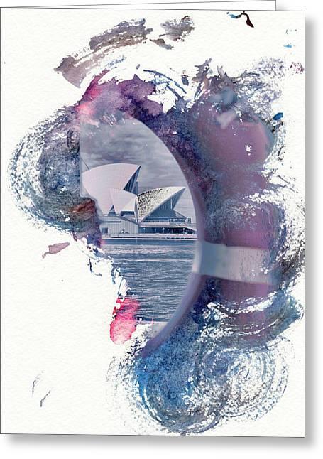 Sydney Opera House Abstract Greeting Card by Az Jackson