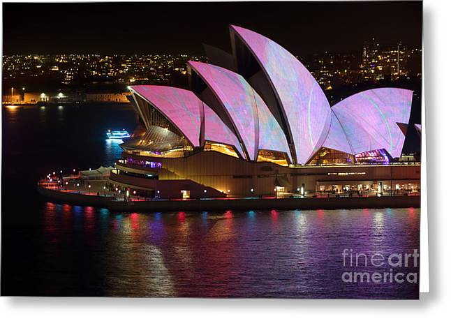 The Houses Greeting Cards - Sydney Opera House adorned with colour and pattern Vivid Sydney Greeting Card by Leah-Anne Thompson