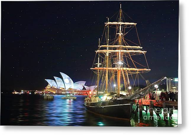 Masts Greeting Cards - Sydney Opera House and Southern Swan during vivid Sydney Festiv Greeting Card by Leah-Anne Thompson