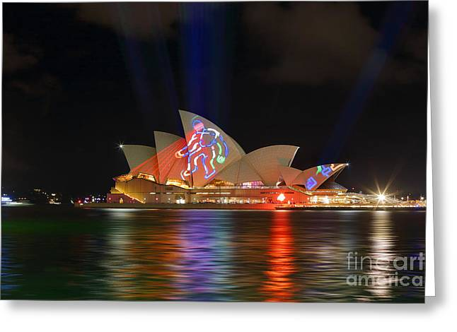 The Houses Greeting Cards - Sydney Opera House during Vivid Sydney Annual Festival Greeting Card by Leah-Anne Thompson