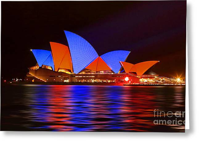 The Houses Greeting Cards - Sydney Opera House in Red and Blue Greeting Card by Leah-Anne Thompson