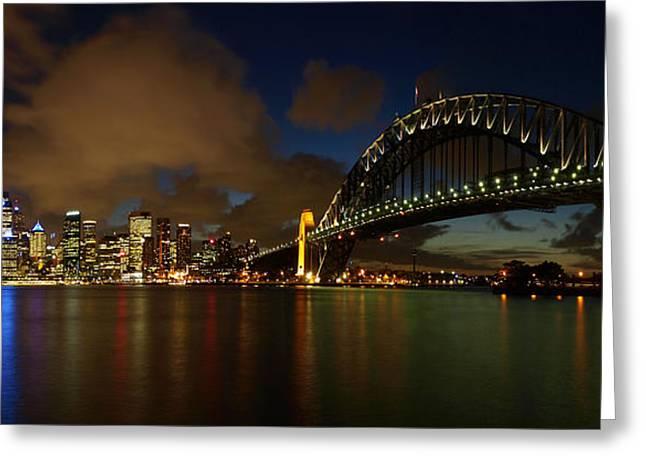 Nightfall Greeting Cards - Sydney Skyline Greeting Card by Melanie Viola