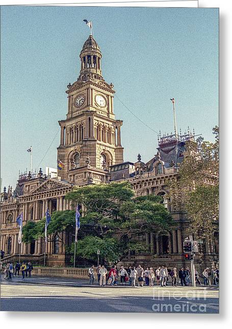 City Hall Pyrography Greeting Cards - Sydney  Town Hall  Greeting Card by Nicholas  Allaniaris