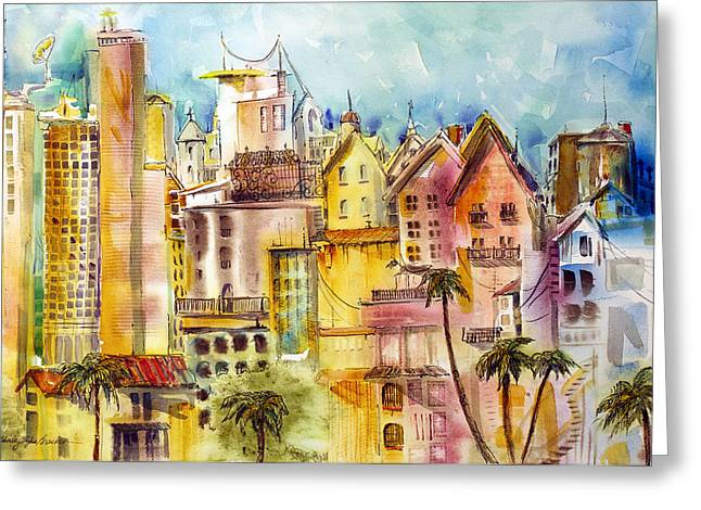 Town Mixed Media Greeting Cards - Sykeston Greeting Card by Shirley Sykes Bracken