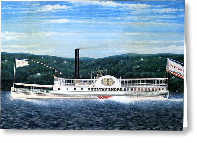 Sylvan Shore Steamboat  Greeting Card by Mountain Dreams