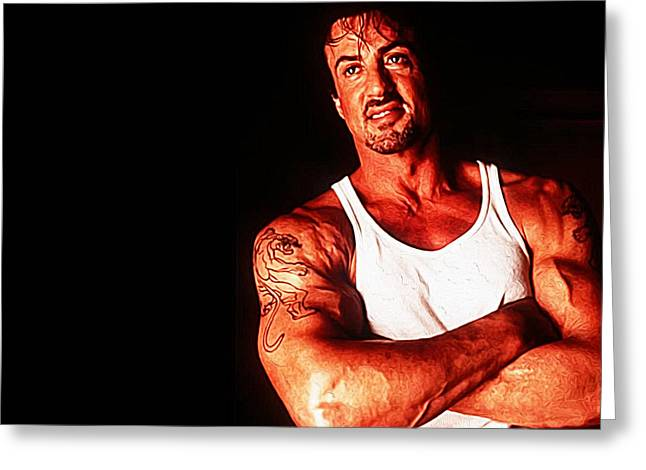 Boxer Digital Greeting Cards - Sylvester Stallone Greeting Card by Queso Espinosa