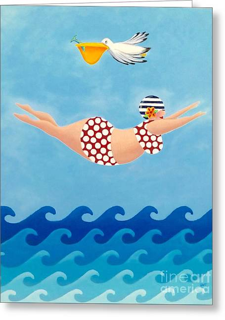 Sylvia Diving II Greeting Card by Stephanie Troxell