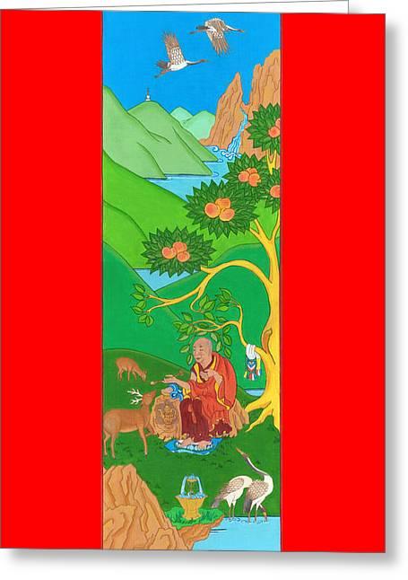 Tibetan Buddhism Greeting Cards - Symbols of Long Life Greeting Card by Berty Sieverding