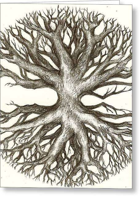 Veins Drawings Greeting Cards - Symetree Greeting Card by Julianna Ziegler