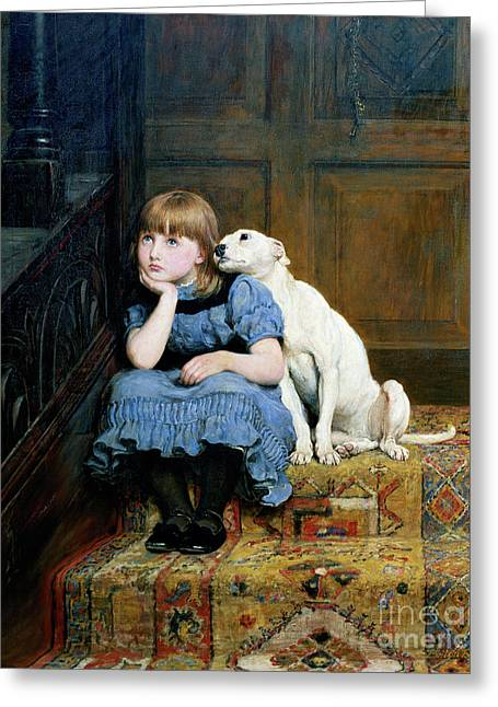 Little Girl Greeting Cards - Sympathy Greeting Card by Briton Riviere