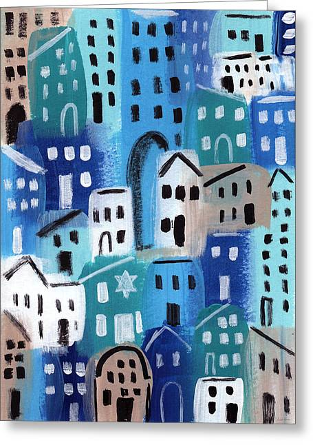Teal Mixed Media Greeting Cards - Synagogue- City Stories Greeting Card by Linda Woods