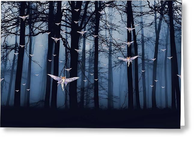 Synchronous Fairies Fly Greeting Card by John Haldane