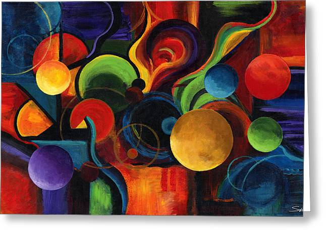 Circles Greeting Cards - Synergy Greeting Card by Laura Swink