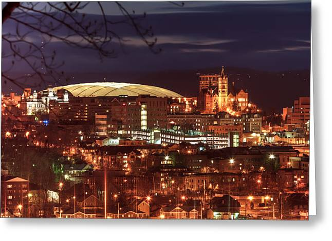 Carrier Greeting Cards - Syracuse Dome at night Greeting Card by Everet Regal