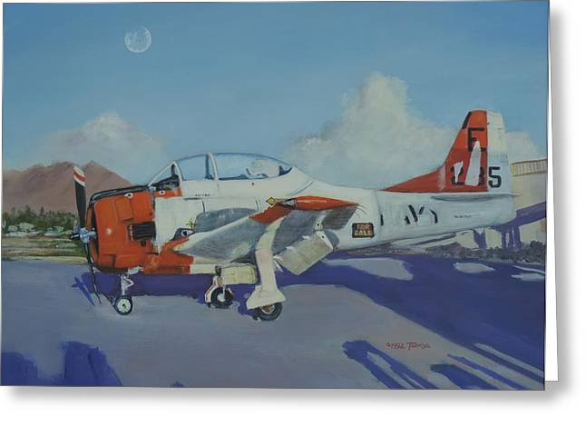 Military Airplanes Greeting Cards - T-28 Needs TLC Greeting Card by Bill Tomsa