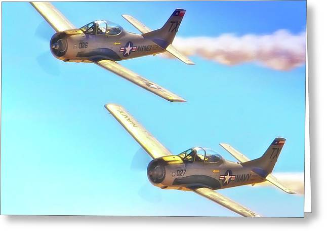 Historical Pictures Greeting Cards - T-38s Fly Tandem Greeting Card by Gus McCrea