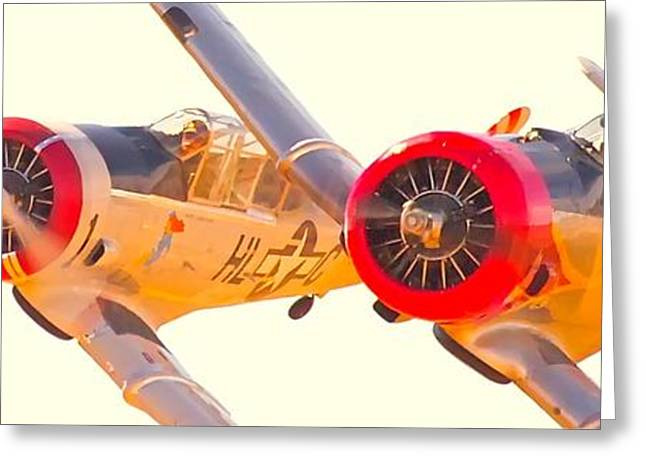 Reno Air Races Greeting Cards - T-6s Race 69 and 42 Go Prop to Prop 2010 Reno Air Races  Greeting Card by Gus McCrea