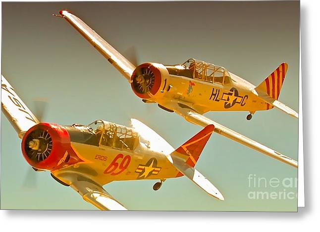 Reno Air Races Greeting Cards - T-6s Race 69 Eros and Race 1 Daring Diane 2010 Reno Air Races Greeting Card by Gus McCrea