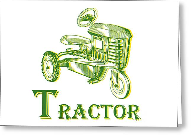 Round Barn Greeting Cards - T is for Tractor Greeting Card by Edward Fielding