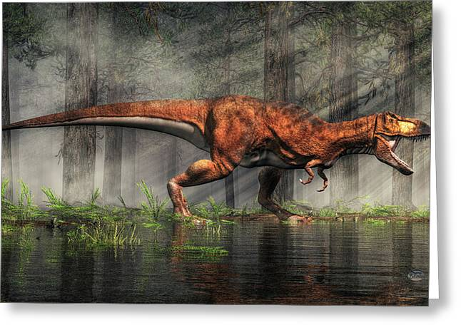 Triassic Greeting Cards - T-Rex Greeting Card by Daniel Eskridge