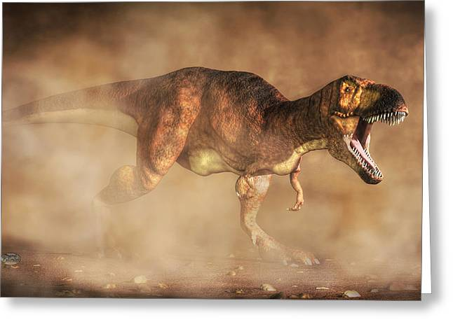 Trex Greeting Cards - T-Rex in a Dust Storm Greeting Card by Daniel Eskridge