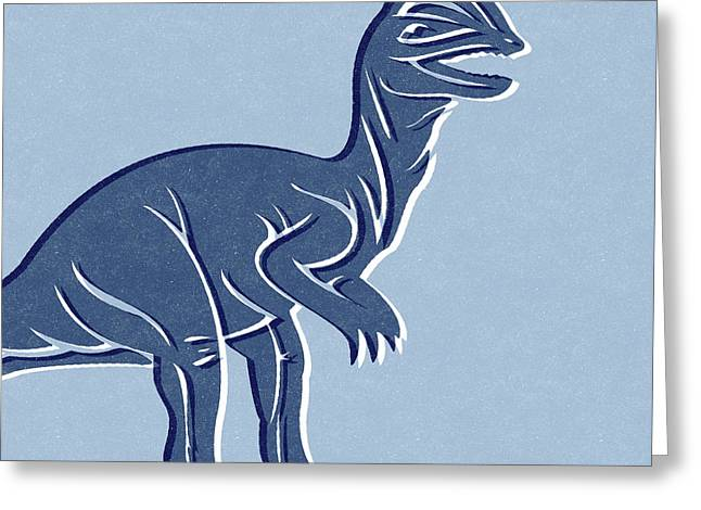 T-rex In Blue Greeting Card by Linda Woods
