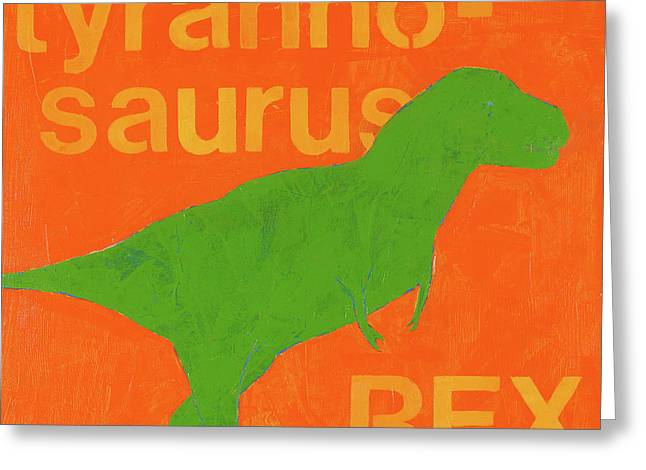 T-rex Greeting Cards - T Rex Greeting Card by Laurie Breen